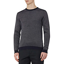 Buy Reiss Riley Textured Crew Neck Jumper, Navy Online at johnlewis.com