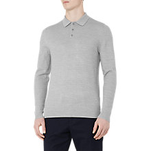 Buy Reiss Woodman Textured Long Sleeve Polo Shirt, Soft Grey Online at johnlewis.com