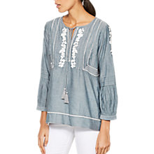 Buy Mint Velvet Chambray Embroidered Blouse, Light Blue Online at johnlewis.com