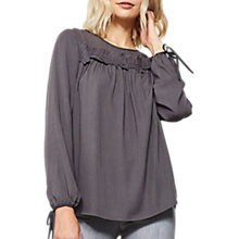 Buy Mint Velvet Lace Insert Yoke Top, Dark Grey Online at johnlewis.com