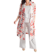 Buy Chesca Floral Chiffon Coat, Silver Grey/Red Online at johnlewis.com