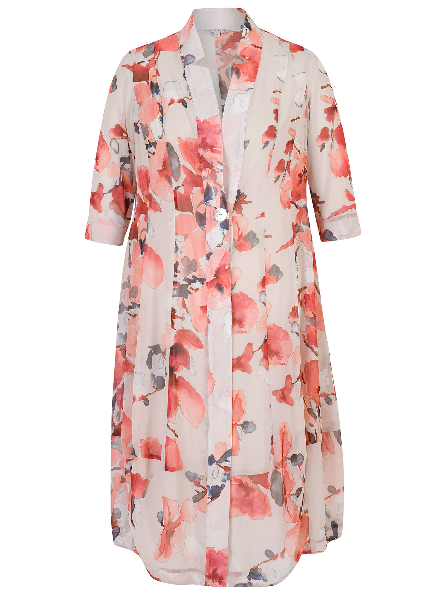 BuyChesca Floral Chiffon Coat, Silver Grey/Red, 16 Online at johnlewis.com