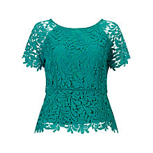 Buy Jacques Vert Leaf Lace Top, Bright Green Online at johnlewis.com
