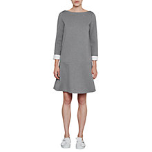 Buy French Connection Lula Turn Up Cuff Boat Neck Dress, Light Grey/Summer White Online at johnlewis.com