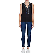 Buy French Connection Karlo Drape Embellished Top, Utility Blue Online at johnlewis.com