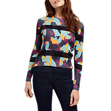 Buy Jaeger Swirl Print Stripe Jumper, Navy Online at johnlewis.com
