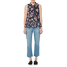 Buy French Connection Eva Crepe Top, Utility Blue/Multi Online at johnlewis.com