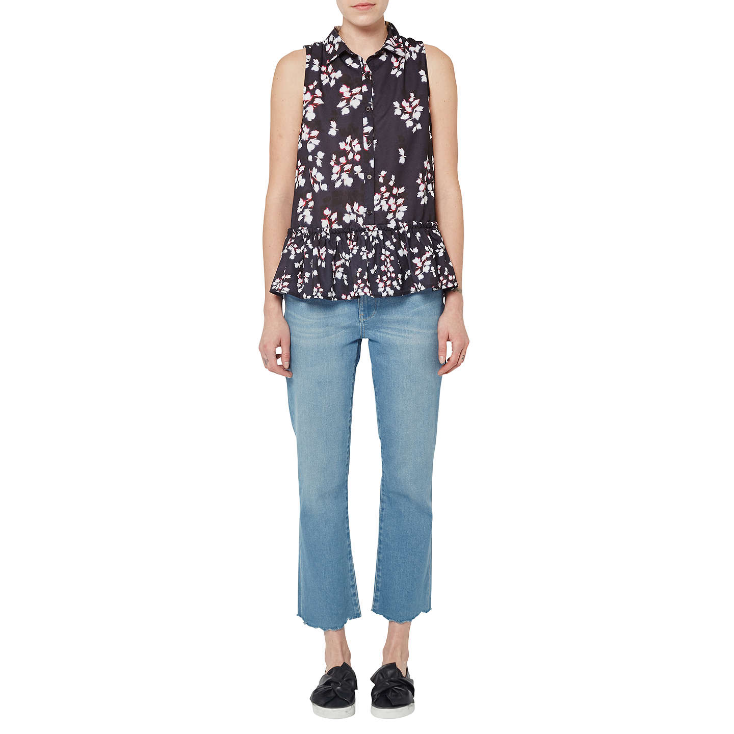 BuyFrench Connection Eva Crepe Top Utility BlueMulti