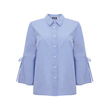 Buy Mint Velvet Tie Sleeve Shirt, Blue Online at johnlewis.com