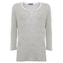 Buy Mint Velvet Stripe Button Front V-Neck T-Shirt, Multi Online at johnlewis.com