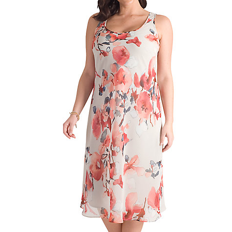Buy Chesca Floral Chiffon Dress, Grey/Red Online at johnlewis.com