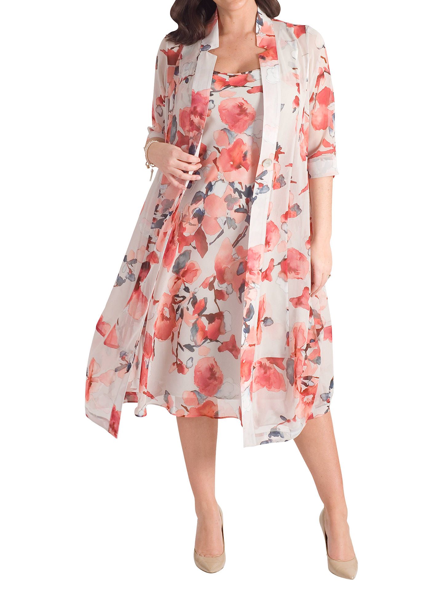 BuyChesca Floral Chiffon Dress, Grey/Red, 12 Online at johnlewis.com