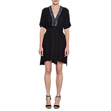 Buy French Connection Karlo Drape Tie Waist Embellished Dress, Utility Blue Online at johnlewis.com