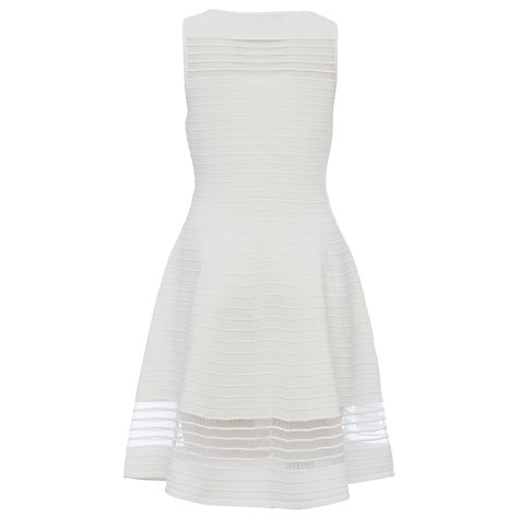 Buy French Connection Tobey Crepe Knit Flared Dress, Summer White Online at johnlewis.com