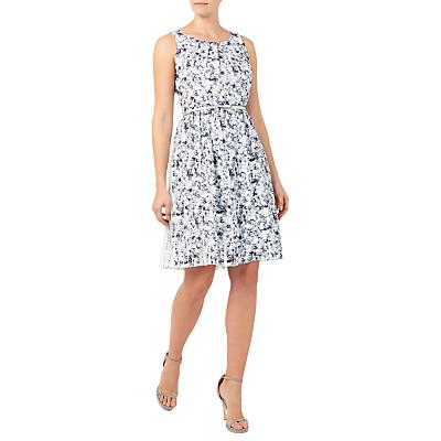 Jacques Vert Plisse Print Dress, Mid Grey/Multi