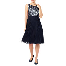 Buy Jacques Vert Cornelli And Plisse Dress, Multi/Navy Online at johnlewis.com