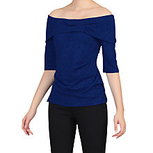 Buy Jolie Moi Textured Bardot Neck Top, Navy Online at johnlewis.com