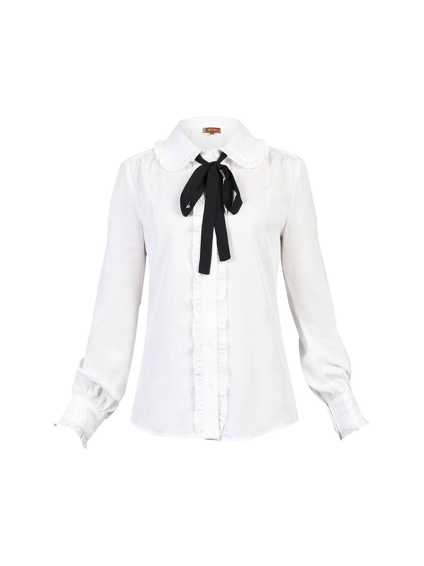 Buy Jolie Moi Trimmed Bow Tie Blouse, White, 20 Online at johnlewis.com