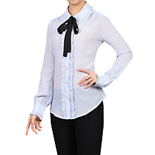Buy Jolie Moi Frilly Bow Tie Blouse, Blue Online at johnlewis.com