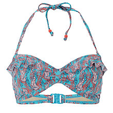 Buy White Stuff Seahorse Seaweed Bandeau Bikini Top, Tropical Turquoise Online at johnlewis.com
