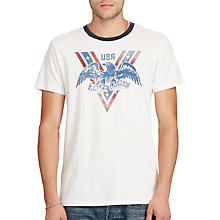 Buy Denim & Supply Ralph Lauren USA Eagle Print Ringer T-Shirt, Antique Cream Online at johnlewis.com