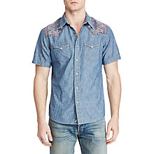 Buy Denim & Supply Ralph Lauren Short Sleeve Cowboy Chambray Shirt, Antique Chambray Online at johnlewis.com