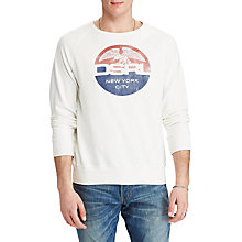 Buy Denim & Supply Ralph Lauren Cotton Graphic Sweatshirt, Antique White Online at johnlewis.com