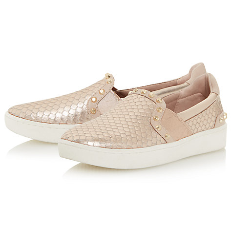 Buy Dune Edit Studded Slip On Trainers, Rose Gold Online at johnlewis.com