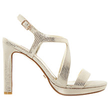 Buy Dune Maya Cross Strap Block Heeled Sandals, Gold Online at johnlewis.com