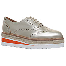 Buy Carvela Lowdown Lace Up Flatform Brogues, Gold Leather Online at johnlewis.com