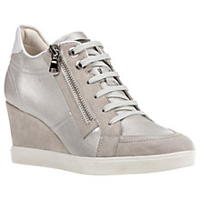 Buy Geox Eleni Wedge Heeled Trainers, Ivory/Platinum Online at johnlewis.com