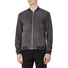 Buy Reiss Basse Suede Bomber Jacket, Grey Online at johnlewis.com