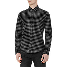 Buy Reiss Galvanise Brushed Cotton Check Slim Fit Shirt, Grey Online at johnlewis.com