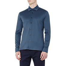 Buy Reiss Chapter Mercerised Cotton Slim Fit Shirt, Steel Blue Online at johnlewis.com