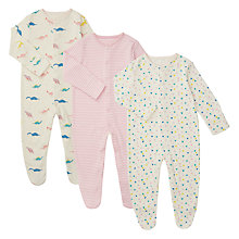 Buy John Lewis Baby GOTS Organic Cotton Dinosaur Sleepsuit, Pack of 3, Pink/Multi Online at johnlewis.com