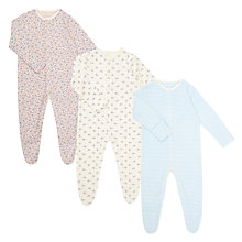 Buy John Lewis Baby GOTS Organic Floral Sleepsuit, Pack of 3, Blue/Multi Online at johnlewis.com