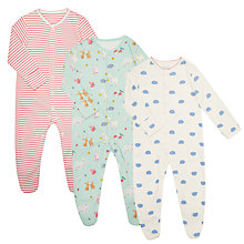 Buy John Lewis Baby Woodland Animals GOTS Cotton Sleepsuit, Pack of 3, Multi Online at johnlewis.com