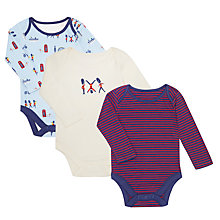 Buy John Lewis Baby GOTS Organic Cotton London Soldier Bodysuit, Pack of 3, Blue/Multi Online at johnlewis.com