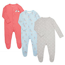 Buy John Lewis Baby Rabbit Sleepsuit, Pack of 3, Pink/Multi Online at johnlewis.com