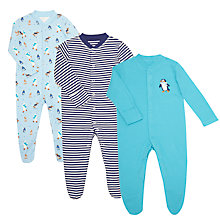 Buy John Lewis Baby GOTS Organic Arctic Sleepsuit, Pack of 3, Blue/Multi Online at johnlewis.com