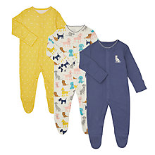 Buy John Lewis Baby Dog GOTS Organic Cotton Sleepsuits, Pack of 3, Multi Online at johnlewis.com