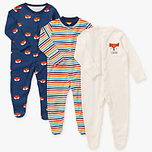 Buy John Lewis Baby GOTS Organic Cotton Fox Sleepsuit, Pack of 3, Multi Online at johnlewis.com