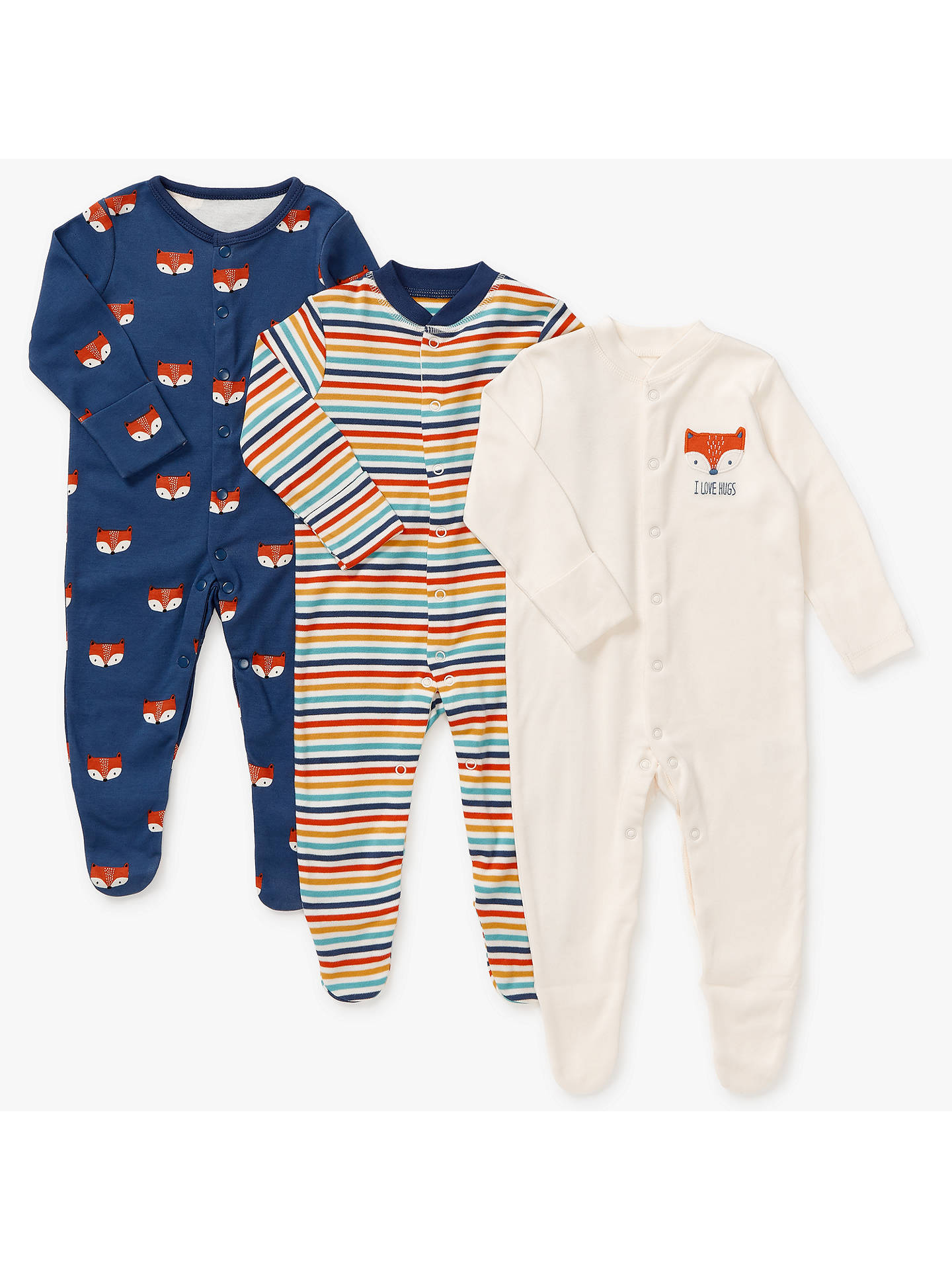fb4247006a95 John Lewis Baby GOTS Organic Cotton Fox Sleepsuit