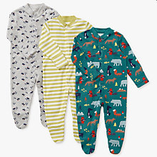 Buy John Lewis Baby GOTS Organic Cotton Woodland Sleepsuit, Pack of 3, Multi Online at johnlewis.com