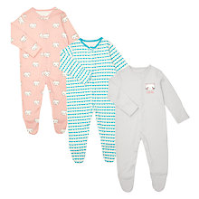 Buy John Lewis Baby GOTS Cotton Cat Sleepsuit, Pack of 3, Assorted Online at johnlewis.com