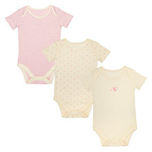 Buy John Lewis Baby GOTS Organic Mouse Print Bodysuit, Pack of 3, Pink/Multi Online at johnlewis.com