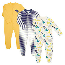 Buy John Lewis Baby GOTS Organic Cotton Dragon Sleepsuit, Pack of 3, Multi Online at johnlewis.com