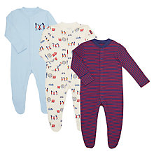 Buy John Lewis Baby GOTS Organic London Soldiers Sleepsuit, Pack of 3, Multi Online at johnlewis.com