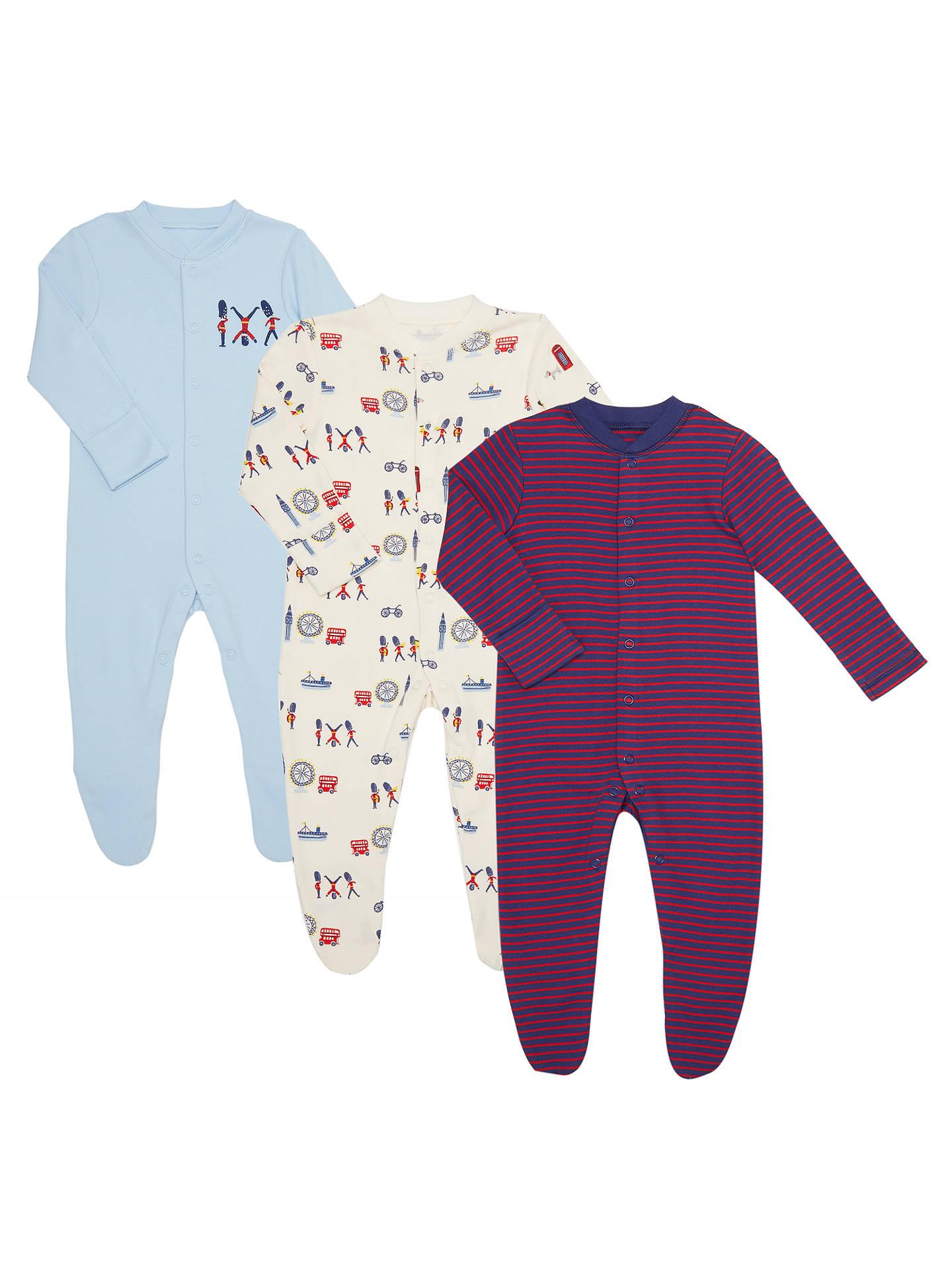 1bf539344 Buy John Lewis Baby GOTS Organic London Soldiers Sleepsuit, Pack of 3,  Multi, ...