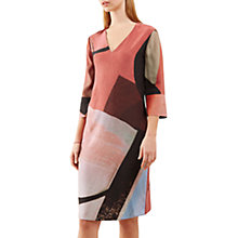 Buy Jigsaw Deconstructed Typo Silk Tunic Dress, Scarlet Online at johnlewis.com